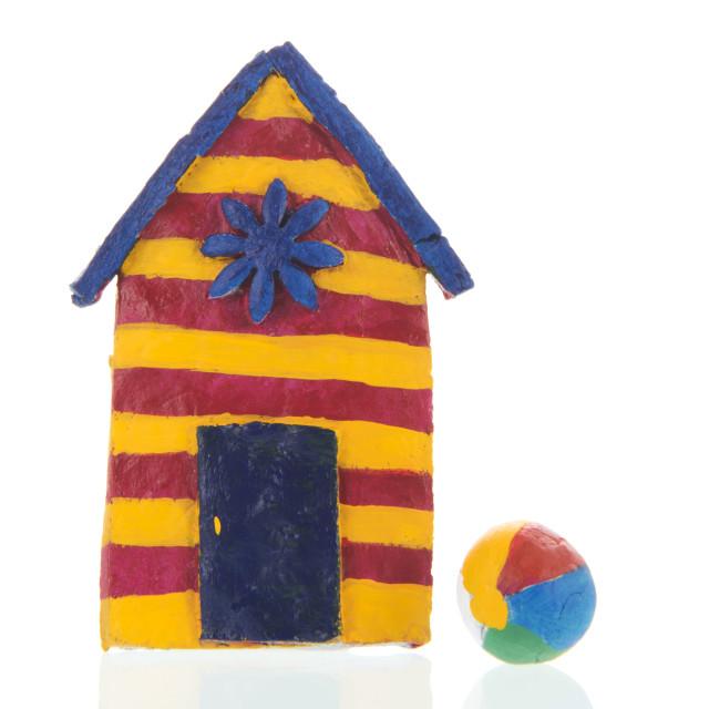 """Colorful handmade beach cabin"" stock image"