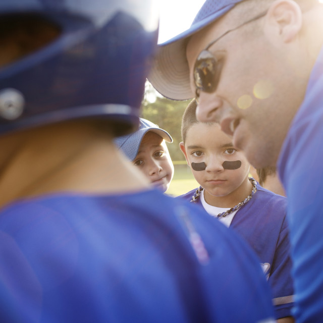 """""""Coach Giving Pep Talk to Little League Team"""" stock image"""