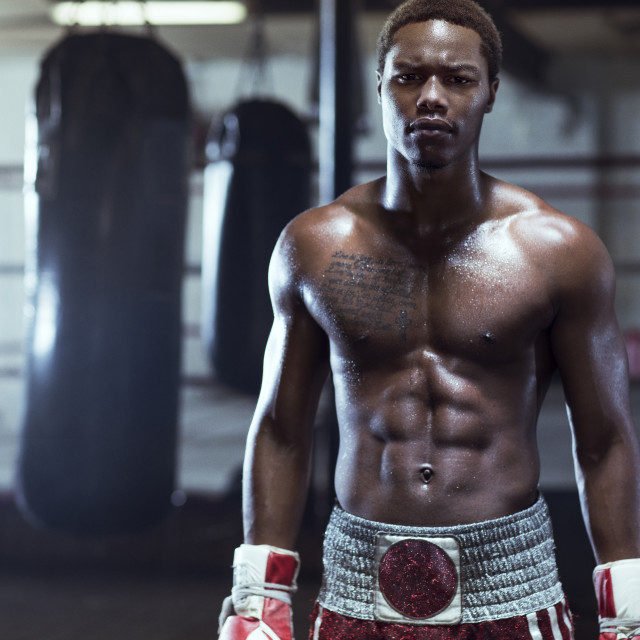 """""""Portrait of male boxer in gym"""" stock image"""