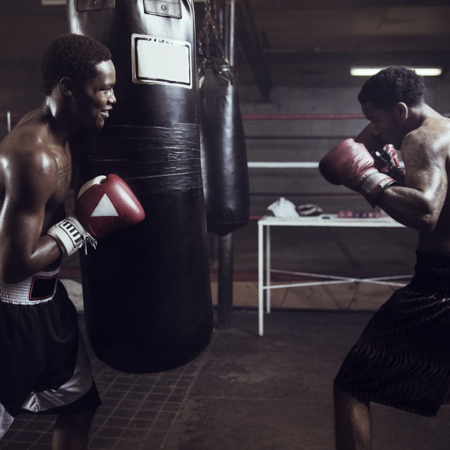 """""""Male boxers in gym"""" stock image"""