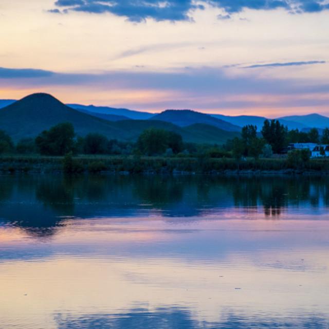 """Coot Lake sunset"" stock image"