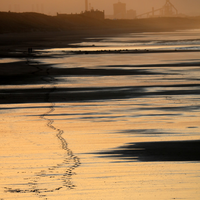 """Footprints on Saltburn beach"" stock image"