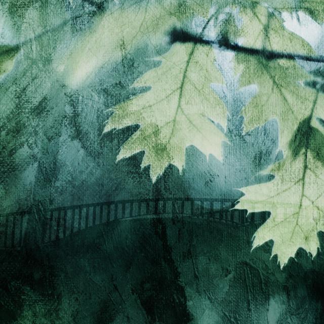 """Oak Leaves Over the Bridge"" stock image"