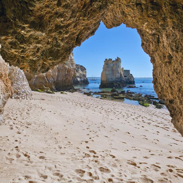 """""""Praia do Pinhão Grotto, Lagos, Algarve, Portugal"""" stock image"""