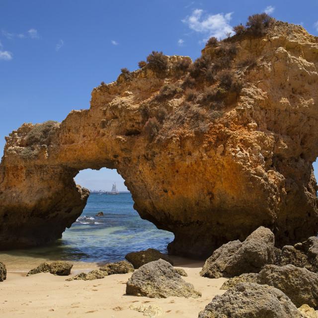 """Stone arch, Praia do Camilo , Lagos, Portugal"" stock image"