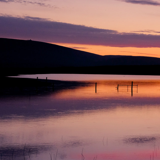 """Sunset Reflecting In Shetland Loch"" stock image"
