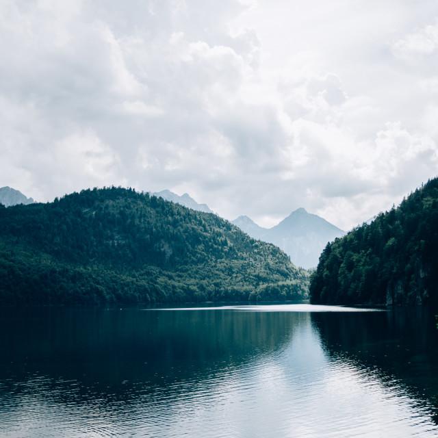 """Blue Alpsee Mountain Lake"" stock image"