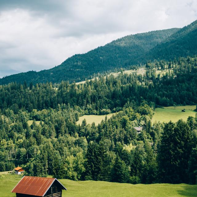 """Cabin in Mountain Field"" stock image"