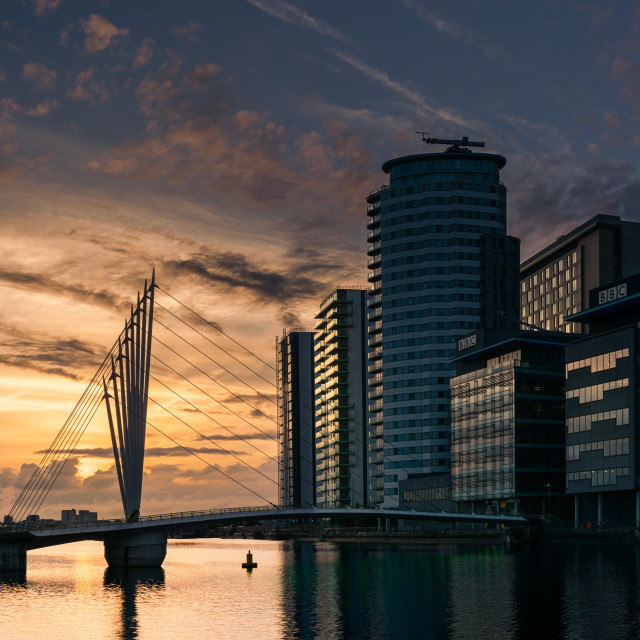 """The Salford Quays, Sunset"" stock image"
