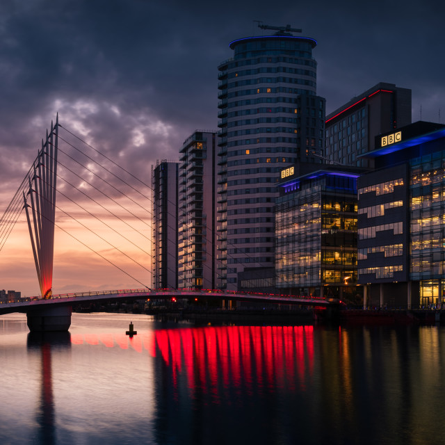 """The Salford Quays, dusk"" stock image"