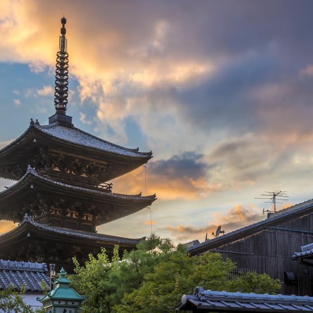 """""""Kyoto Pagoda at Sunset"""" stock image"""