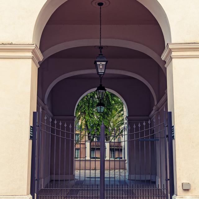 """Three Lanterns In A Corridor"" stock image"