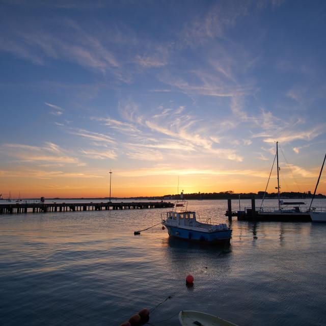 """Ha'penny Pier June Sunset Harwich"" stock image"