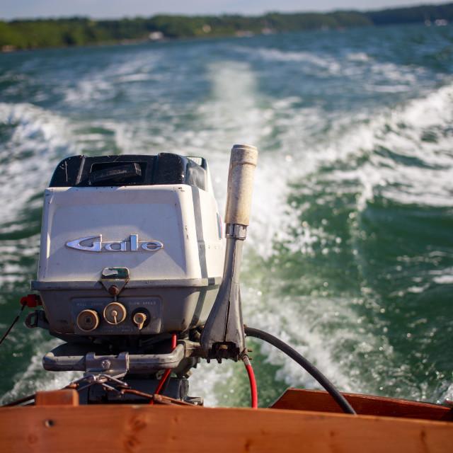 """Vintage speed boat stern"" stock image"
