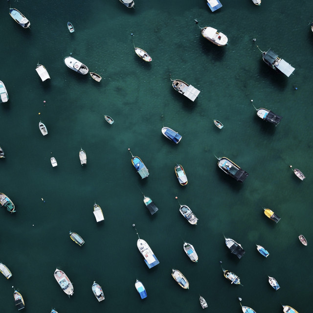 """Aerial view of the fishing boats at Marsaxlokk Harbour in Malta"" stock image"