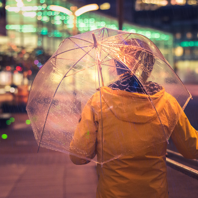 """Umbrella nights, Manchester, UK."" stock image"