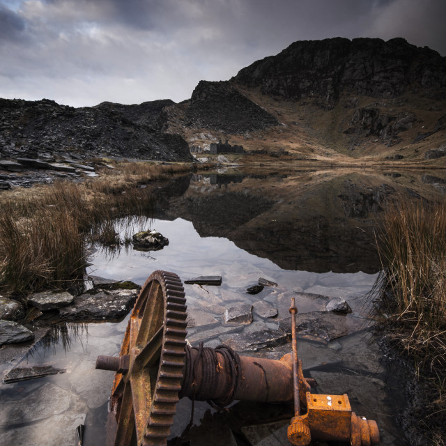 """Derelict machinery, Cwmorthin slate quarry"" stock image"