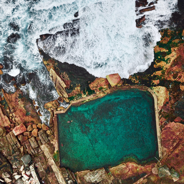 """An aerial view of the Mahon Pool in Sydney, Australia"" stock image"