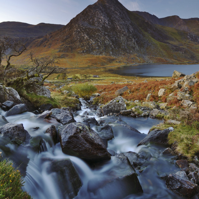 """Waterfall with Glyder Fach mountain"" stock image"