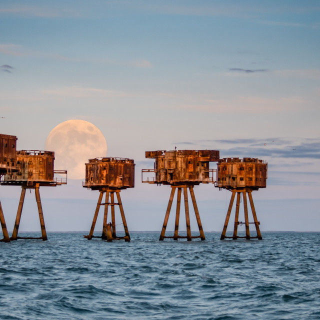 """""""Full moon at Shivering Sands"""" stock image"""