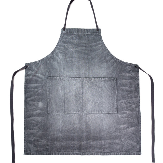 """Clean gray denim apron isolated on white"" stock image"