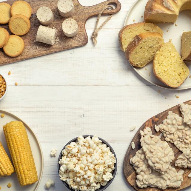 """""""Festa Junina sweet food concept.Copyspace,top view"""" stock image"""