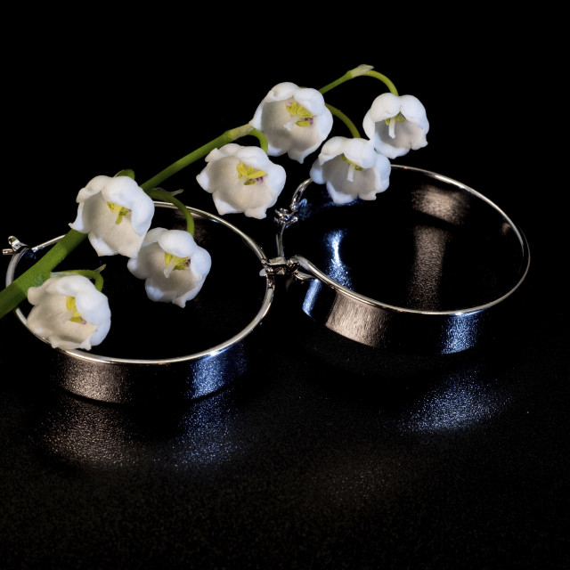"""""""Brilliant round wide metal earrings and white lily of the valley"""" stock image"""