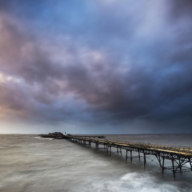"""Storm over derelict pier, Weston-super-mare"" stock image"
