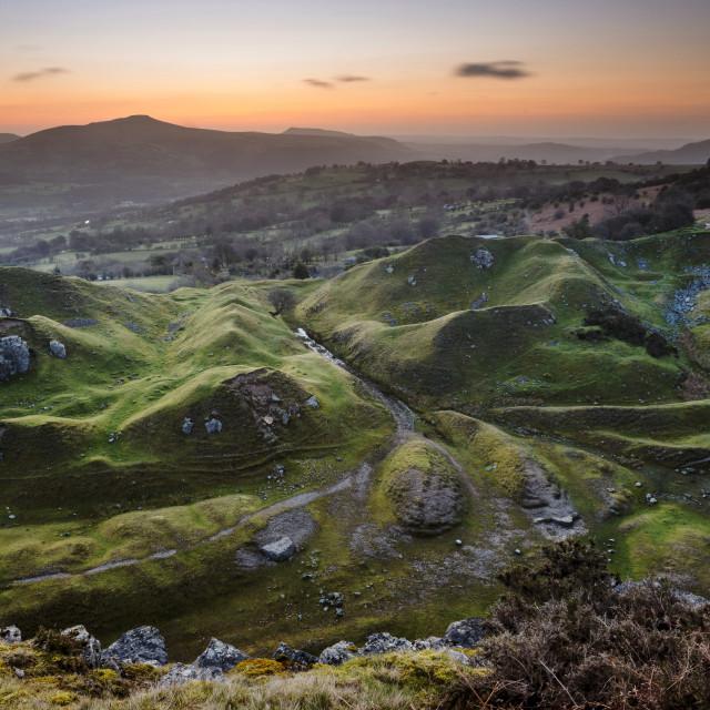 """Dawn, Llangattock escarpment, South Wales"" stock image"