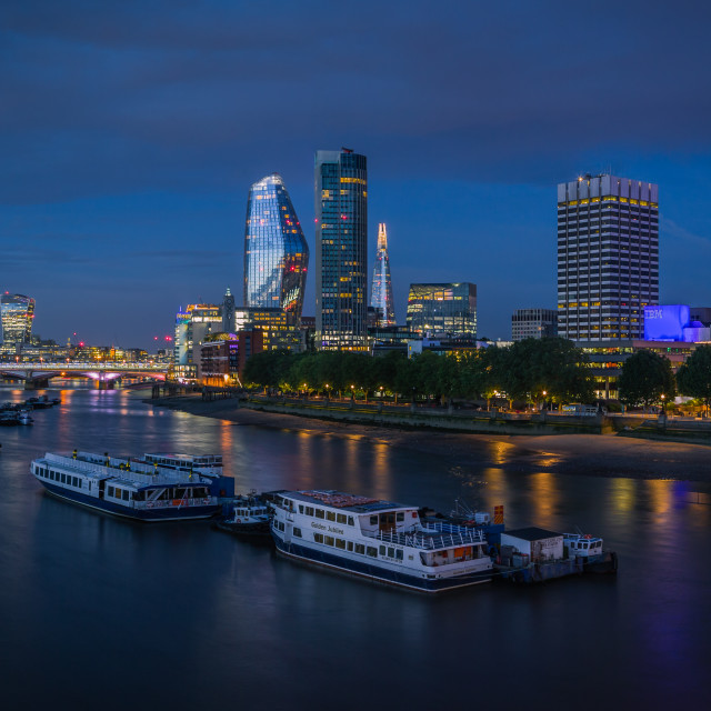 """Dusk and Moonrise Over London"" stock image"