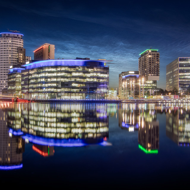 """""""Noctilucent Clouds over Media City"""" stock image"""
