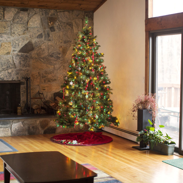 """""""Decorated Christmas tree at home"""" stock image"""