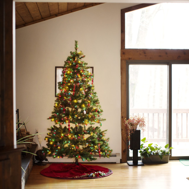 """""""Decorated Christmas tree by window at home"""" stock image"""