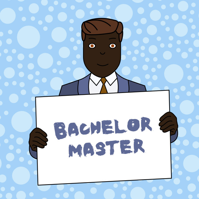 """""""Writing note showing Bachelor Master. Business photo showcasing An advanced..."""" stock image"""