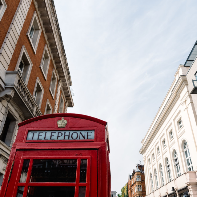 """Iconic traditional red telephone box in London"" stock image"