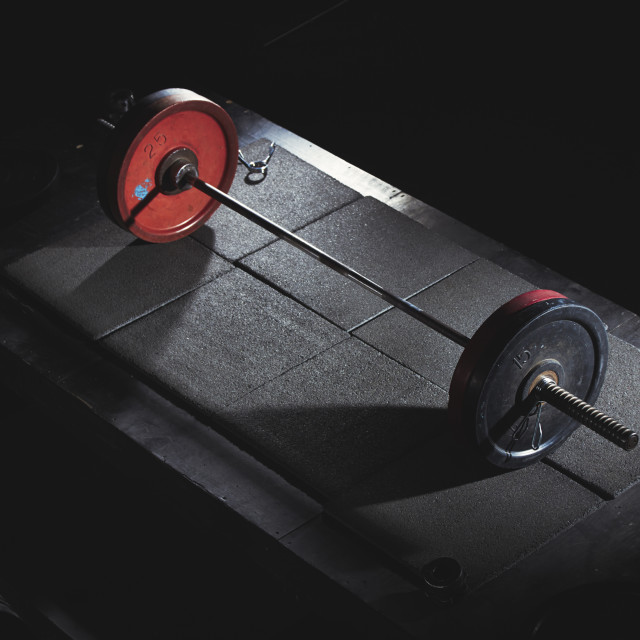 """""""Close-up of barbell in gym"""" stock image"""