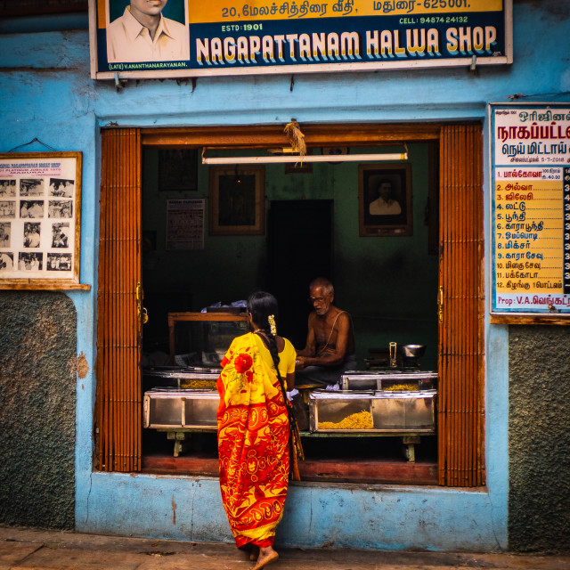 """An old sweet meat shop in Madurai"" stock image"