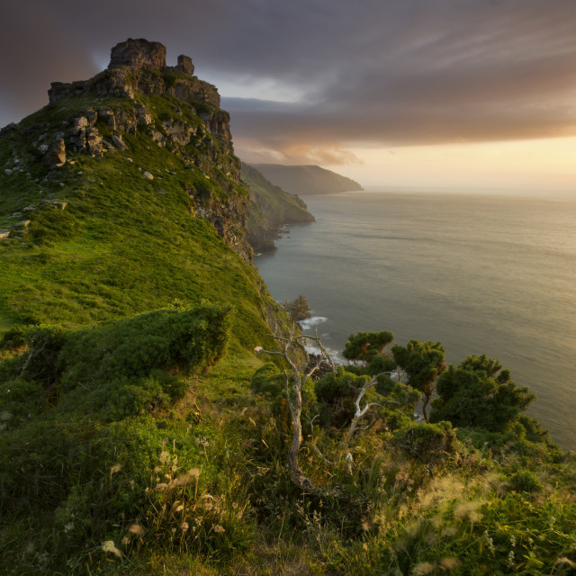 """Sunset Valley of the Rocks, Devon"" stock image"