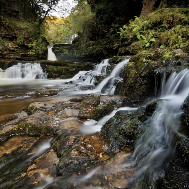 """Sgwd clyn gwyn waterfall, Brecon Beacons"" stock image"