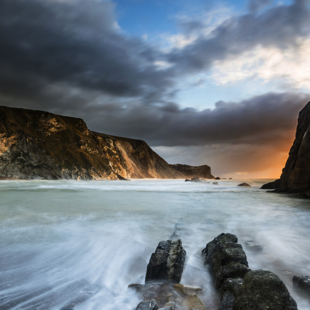 """Man 'o' War bay, Dorset, sunrise"" stock image"