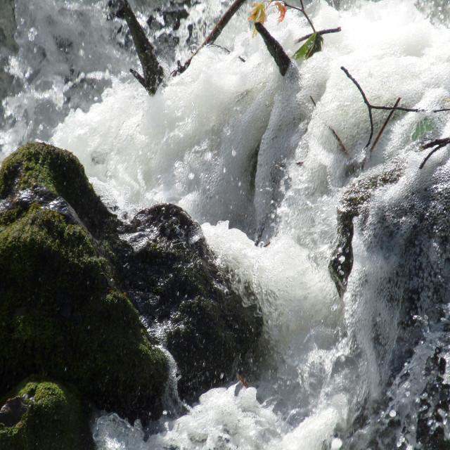 """Waterfall bottom in Bryne, Norway"" stock image"