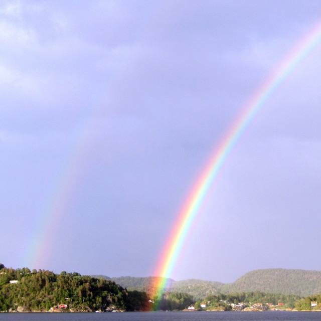 """Double rainbow over Brevik, Norway"" stock image"