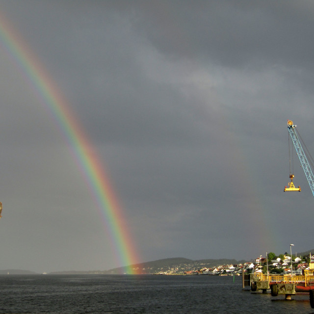 """Double rainbow over Brevik, Norway"" stock image"