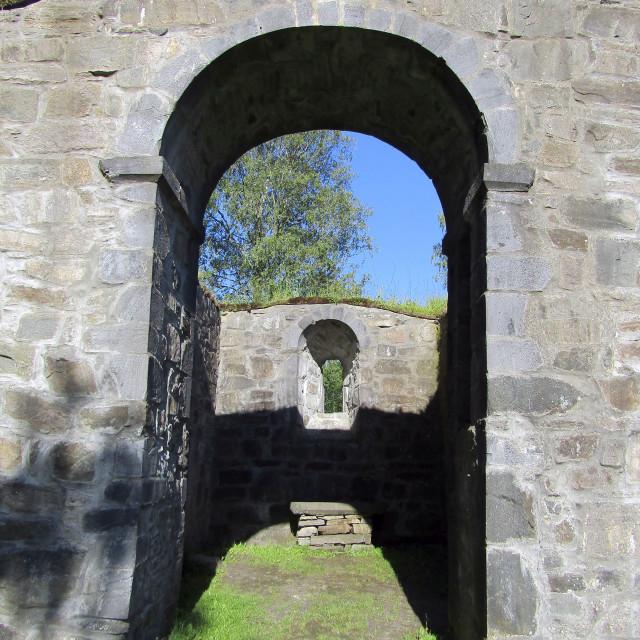 """Mediaeval St. Olav church ruin, Bamble, Norway"" stock image"