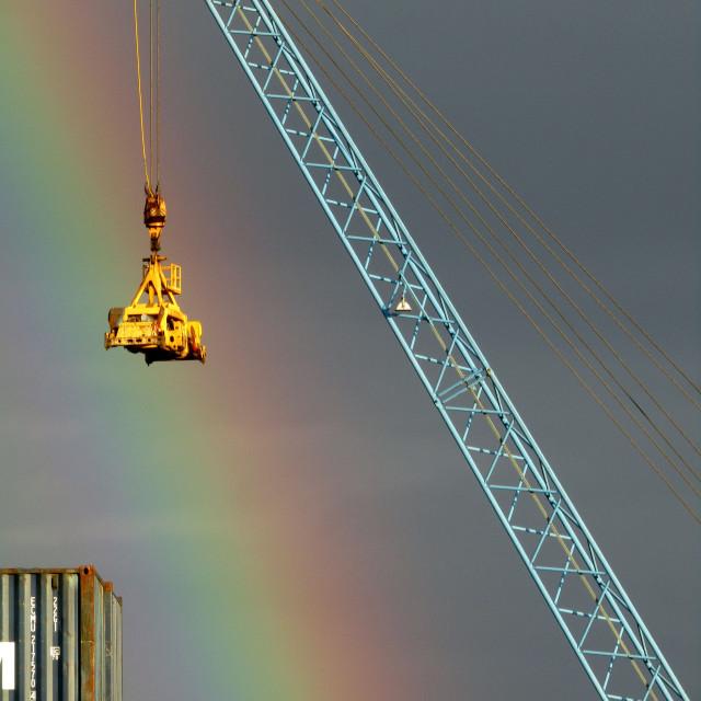 """Rainbow over Brevik, Norway dockside"" stock image"