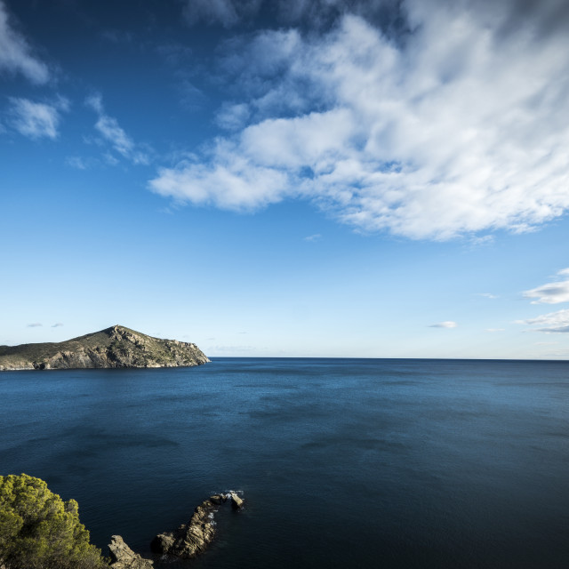 """""""Idyllic view of sea against cloudy sky"""" stock image"""