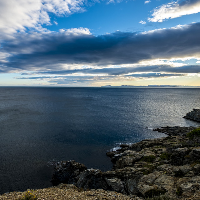 """""""Tranquil view of sea against cloudy sky"""" stock image"""