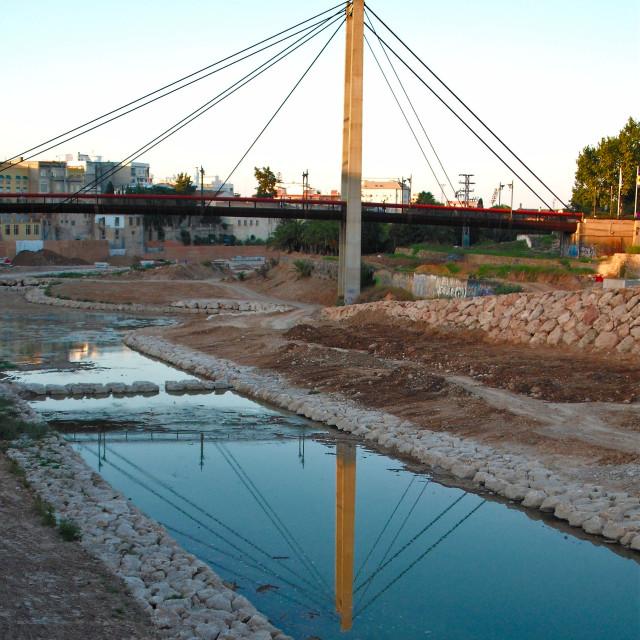 """""""Gandia Footbridge Over The Serpis"""" stock image"""