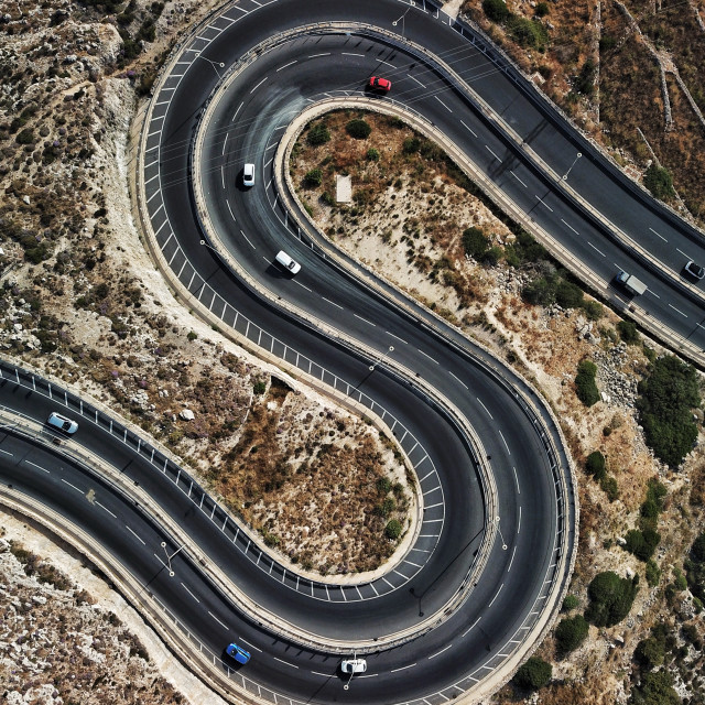 """Aerial: S Shaped road"" stock image"