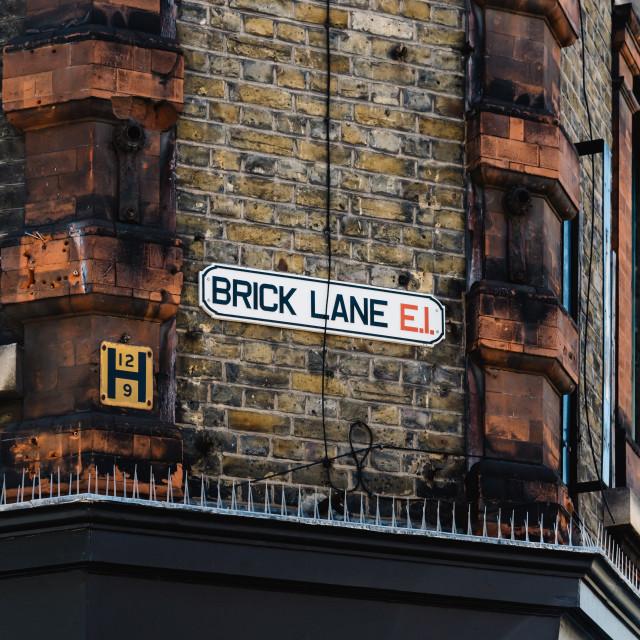 """Brick Lane street name sign in London"" stock image"